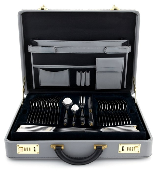 72-Pc Gold Accented Flatware Set