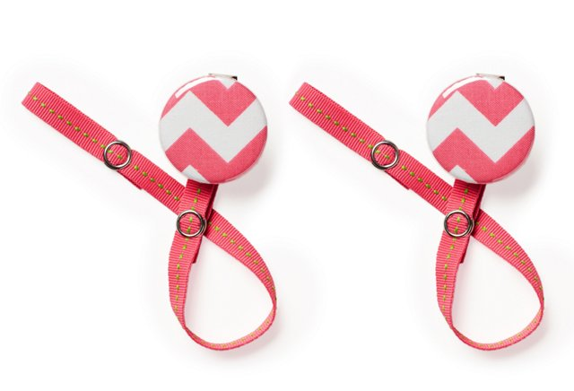 S/2 Pacifier Clips, Pink Chevron
