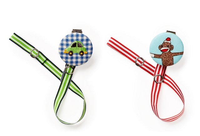 S/2 Pacifier Clips, Monkey & Car