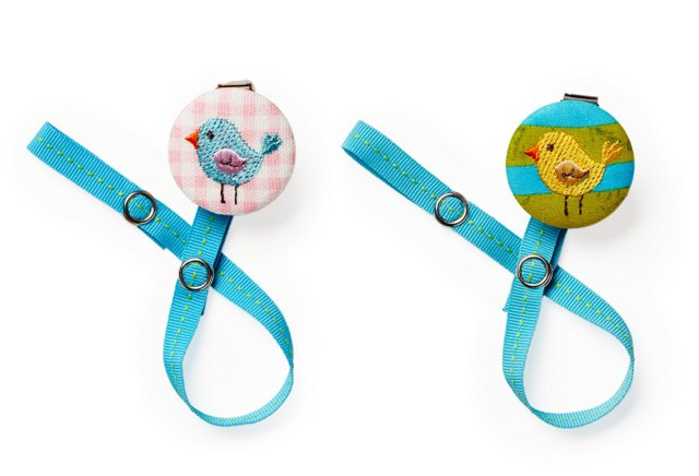S/2 Pacifier Clips, Bird & Chick