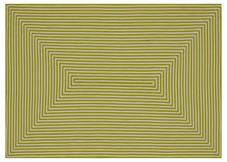 Leah Outdoor Rug, Lime/Ivory