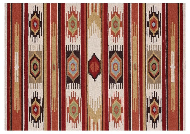 Lamia Rug, Ivory/Red