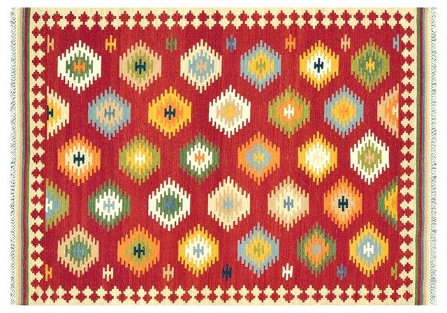 Helga Flat-Weave Rug, Red