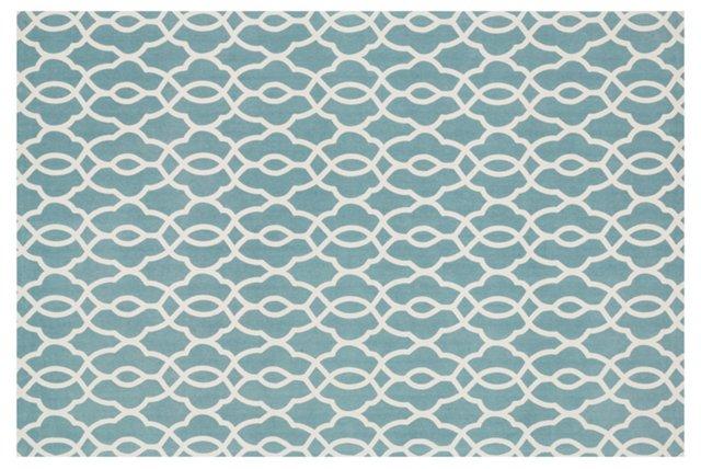 Oliver Flat-Weave Rug, Blue/Ivory