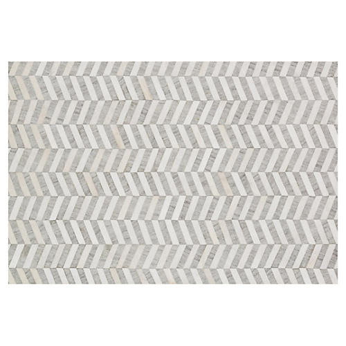 Morton Hide Rug, Gray/Ivory