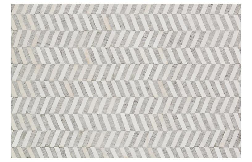 Morton Hide Rug, Gray/Ivory