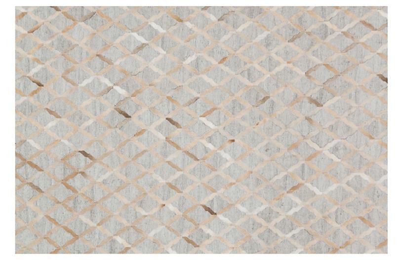 Hertzl Hide Rug, Gray/Sand