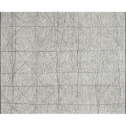Reposa Hand-Knotted Rug, Slate/Gray