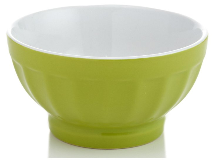 S/4 Large Fluted Bowls, Chartreuse