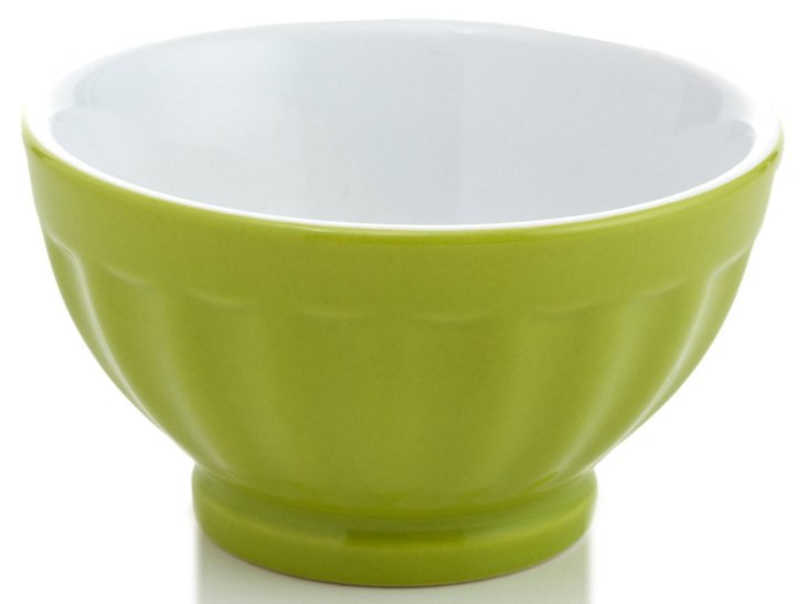 S/4 Small Fluted Bowls, Chartreuse