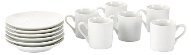 S/6 Porcelain Demi Cups & Saucers