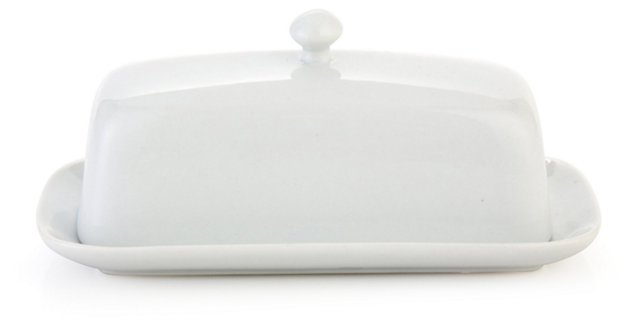 S/2 Covered Porcelain Butter Dishes