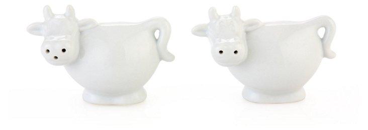 S/2 Porcelain Cow Salt & Pepper Shakers