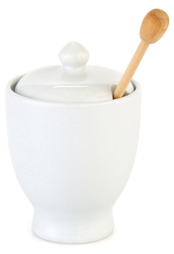 Porcelain Honey Pot w/ Wood Dipper