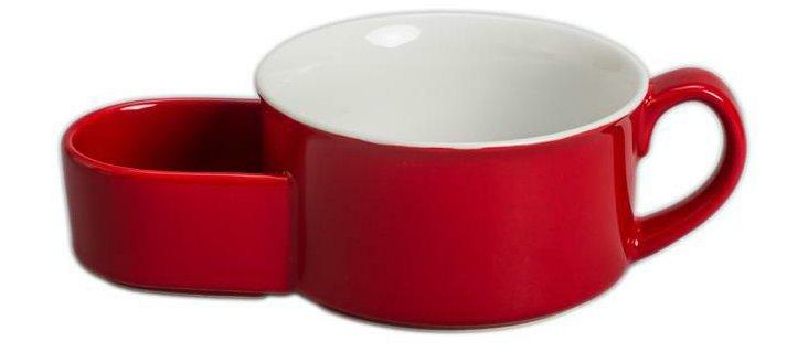 S/4 Soup & Cracker Mugs, Red