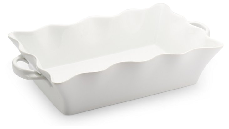 3 Qt Scalloped Baking Dish, White