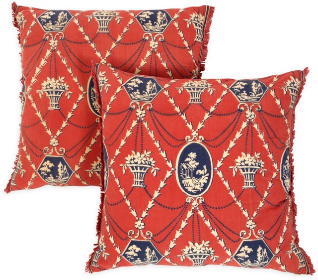 Red Print Decorative Pillows, Pair