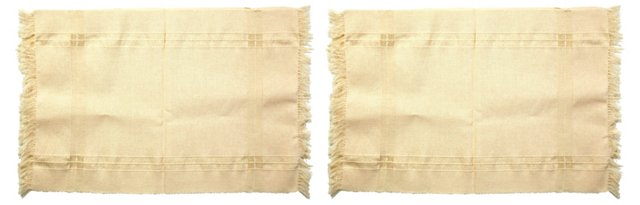 White Cotton Fringed Placemats, Set of 2