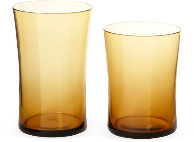 Amber Curved Wine & Water Glasses, S/16