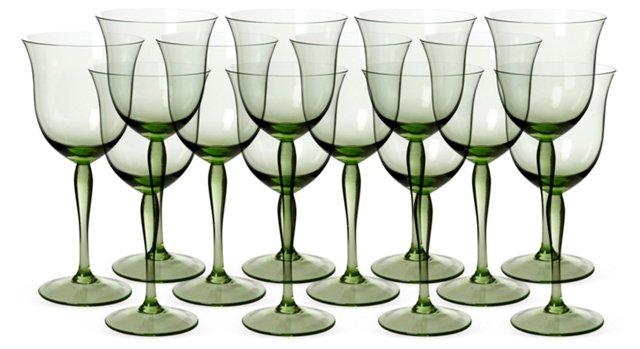 Green Goblet Wine Glasses, Set of 12