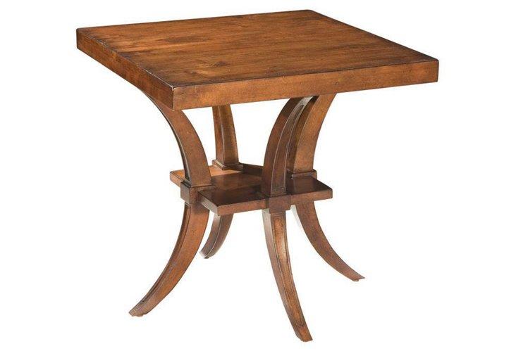 Brent Square Side Table, Dark Walnut