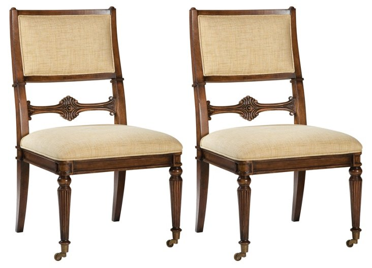 Vanilla Jesse Side Chairs, Pair