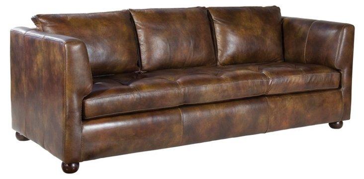 "Hudson 86"" Leather Sofa, Chocolate"