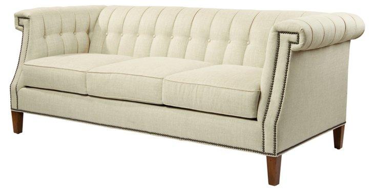 "Ali 82"" Tufted Linen Sofa, Ivory"