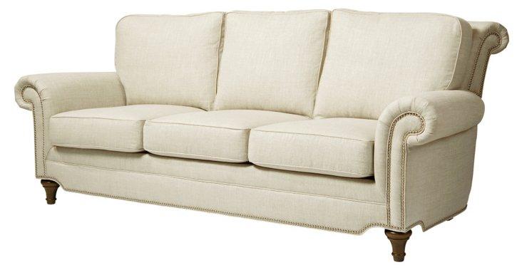 """Elle 86"""" Linen Sofa, Ivory"""