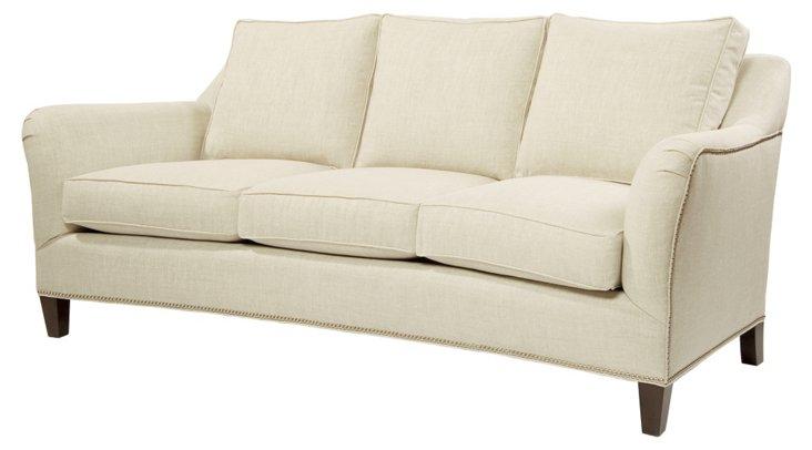 "Leo 82"" Linen Sofa, Ivory"