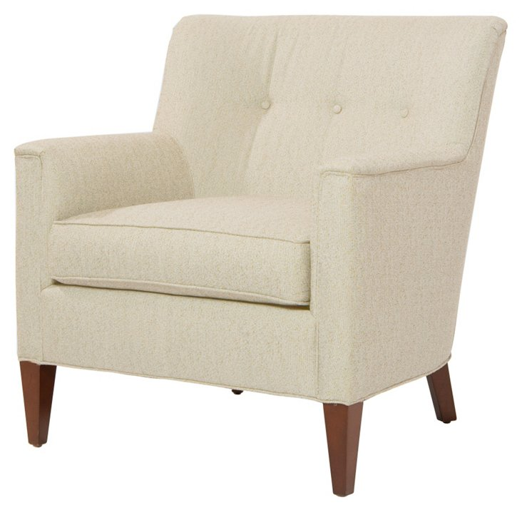 Lillian Button-Tufted Linen Chair, Ivory
