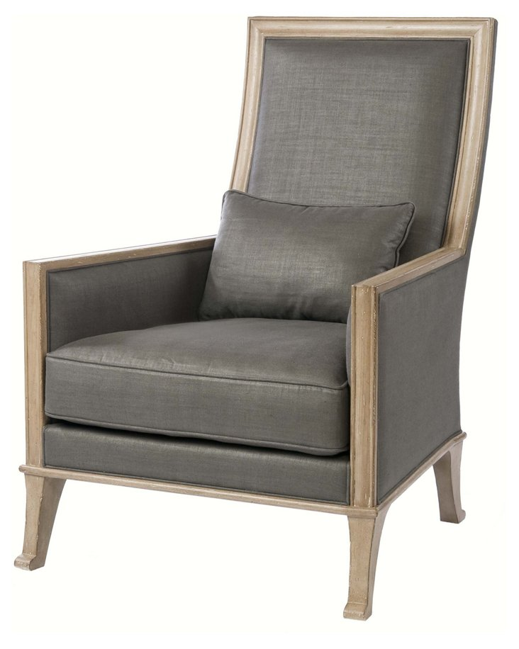 Riley Linen Chair, Charcoal