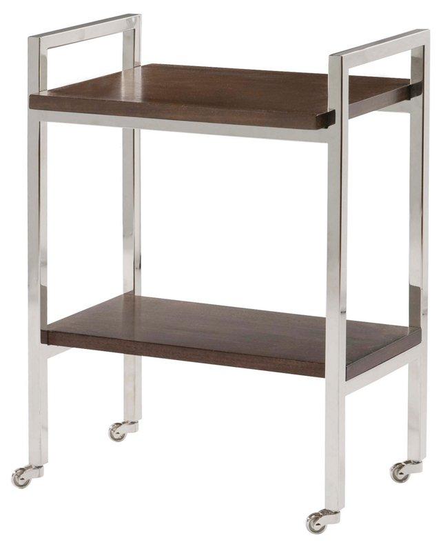 Brooks 2-Tier Side Table, Silver/Walnut