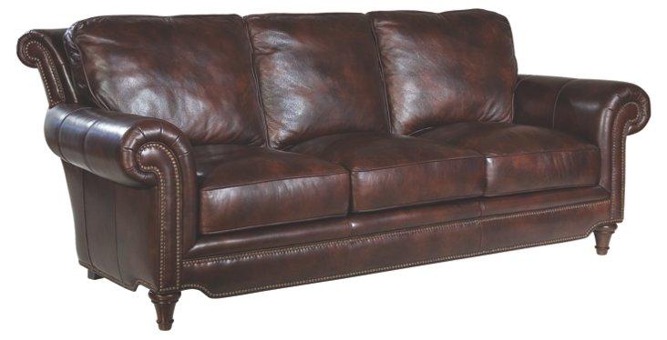 """Julian 86"""" Leather Sofa, Coffee"""