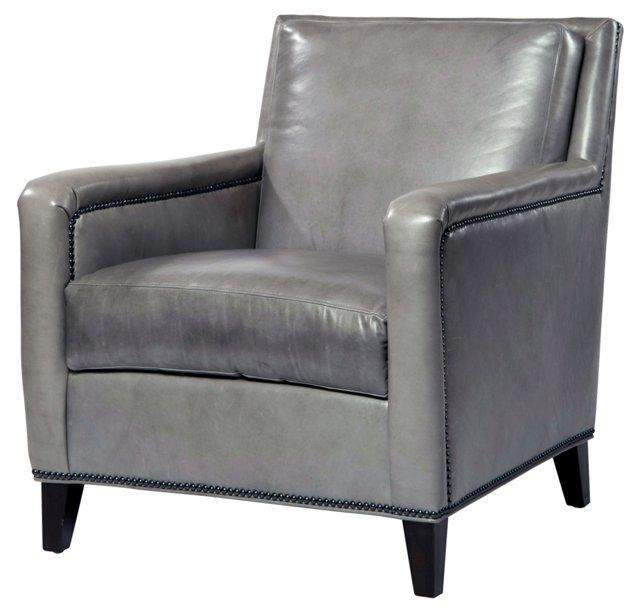 Beckham Leather Club Chair, Gray