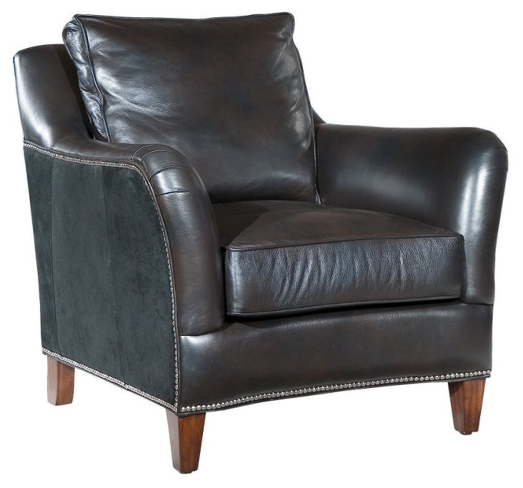 Perry Leather Club Chair, Black