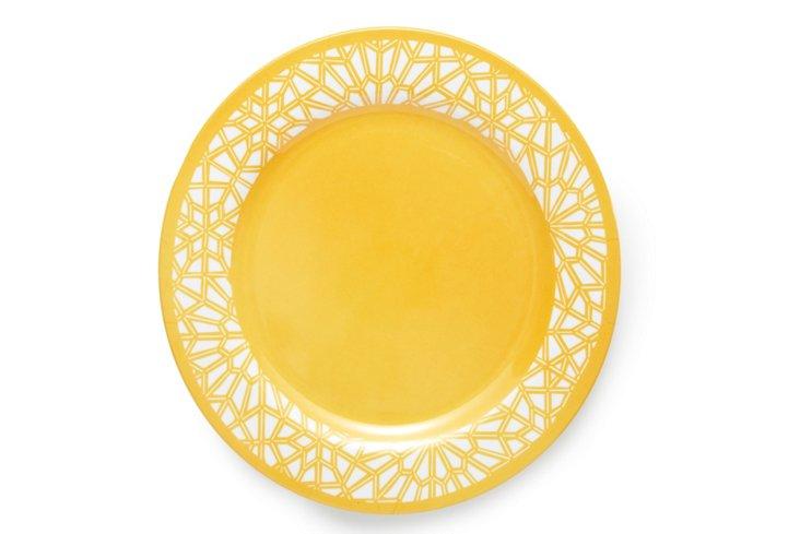 "S/4 Tangiers Melamine Plates, 12"" Ochre"