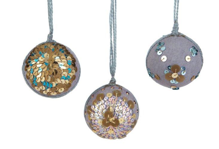 Sequin Ornaments, Asst. of 3
