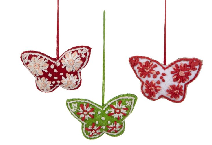 S/3 Folklore Butterfly Ornaments
