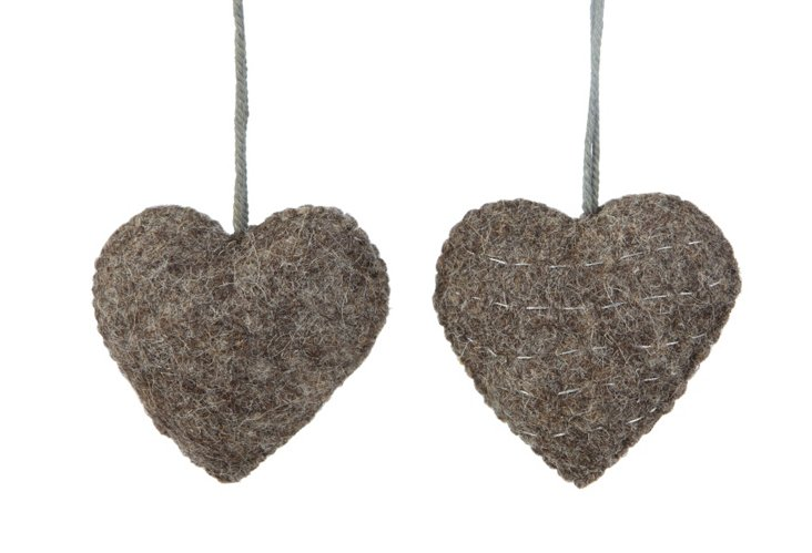 S/2 Felted Heart Ornaments, Gray