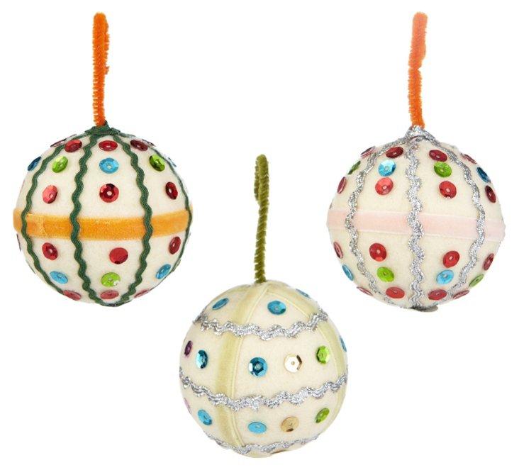 S/3 Ric-Rak Sequined Ornaments