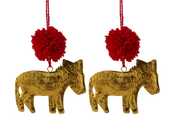 S/2 Donkey Ornaments, Gold