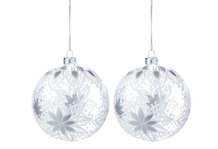 S/2 Modern Poinsettia Ornaments, Silver