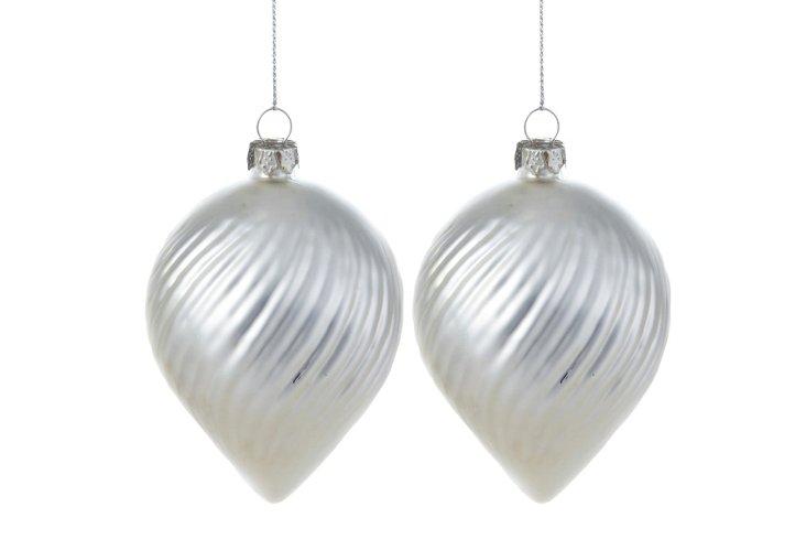 S/2 Pearl Swirled Cone Ornaments