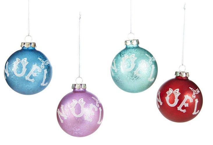 Noel Ball Ornaments, Asst. of 4