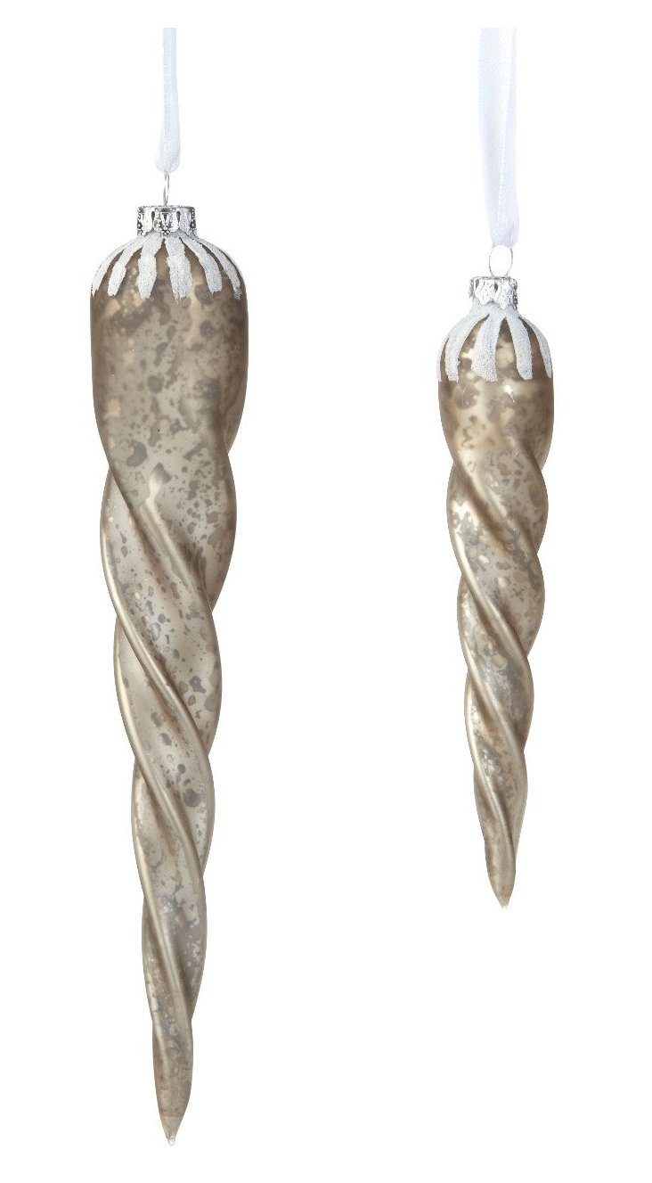 S/2 Glass Icicle Ornaments, Smoke