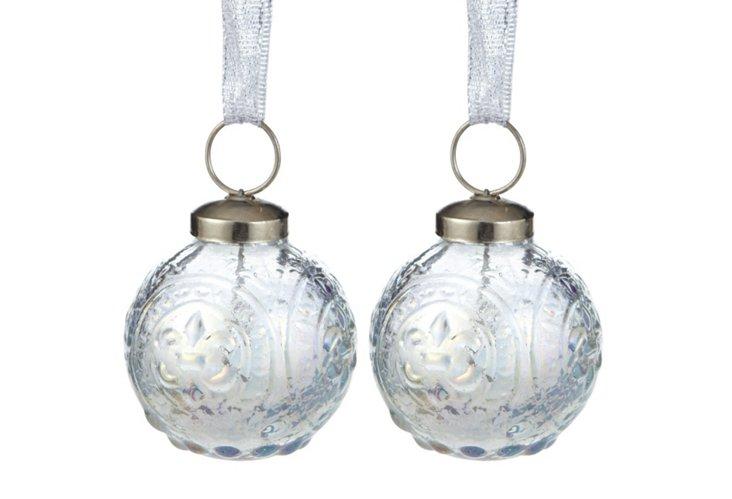 """S/2 2"""" Iridescent Ornaments"""