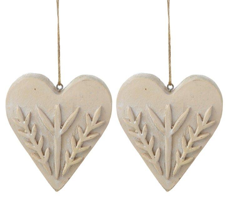 S/2 Scandinavian Heart Ornaments
