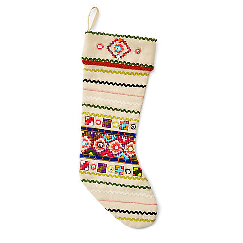 "19"" Neon Folk Stocking, Cream/Multi"