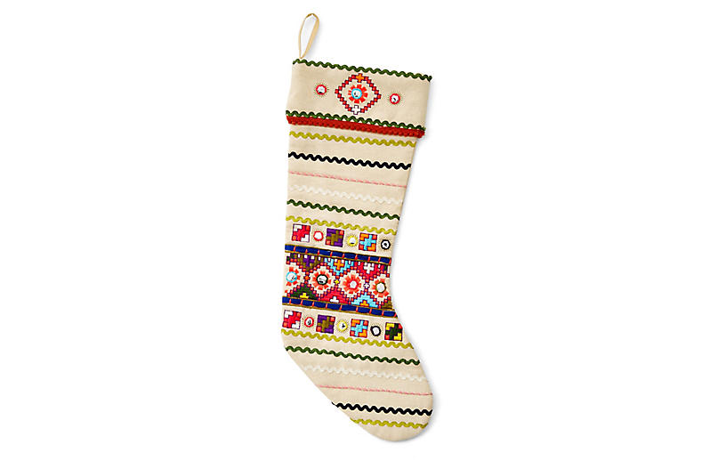 Neon Folk Stocking - Cream